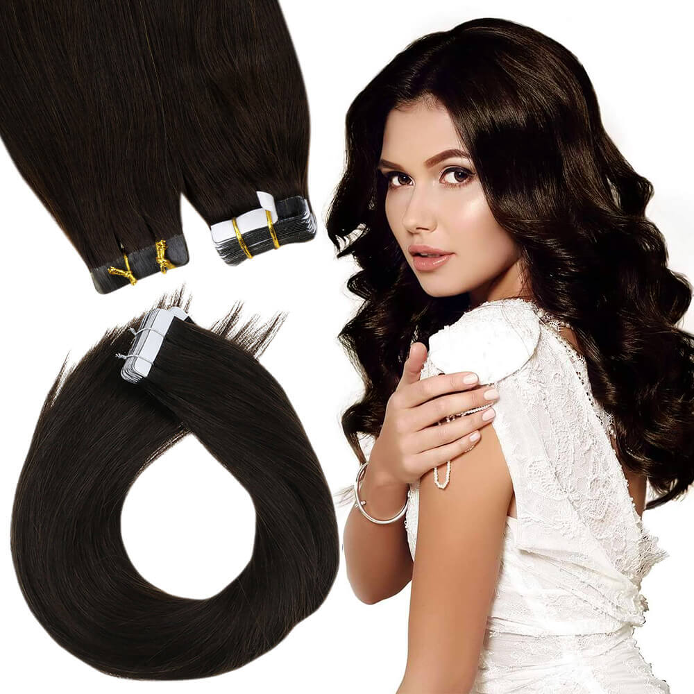 5 Pieces 70g Remy Clip in Hair Extensions Human Straight Hair Dearest Brown #2 - LaaVoo
