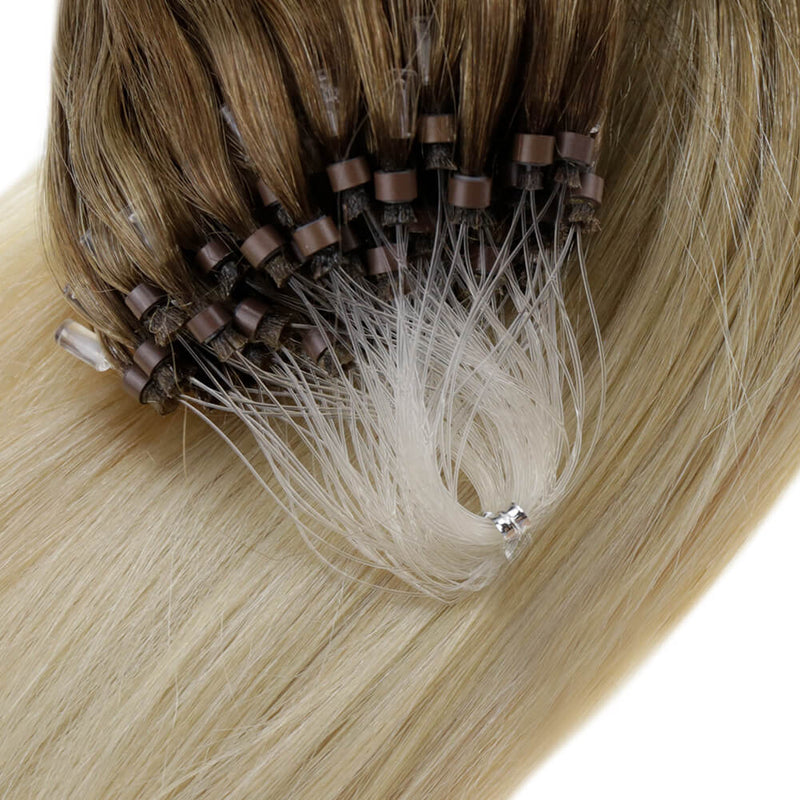 Micro Beads Remy Hair Micro Loop Straight Hair Extensions Brown Root Blond #8/59| LaaVoo - LaaVoo
