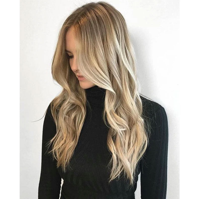 (#8/59) 130% Density Wavy Front Lace Wig Free Part with Baby Hair Balayage  Light Brown to Blonde - LaaVoo