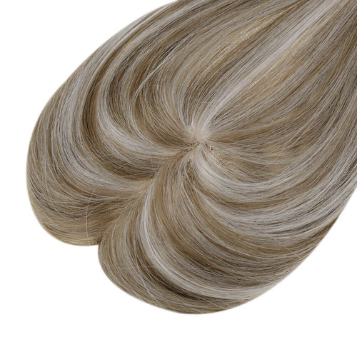 "5""*5"" Mono Hair Topper Straight Remy Human Hair Clip in Crown Hair Piece Toupee for Women #P8/60 - LaaVoo"