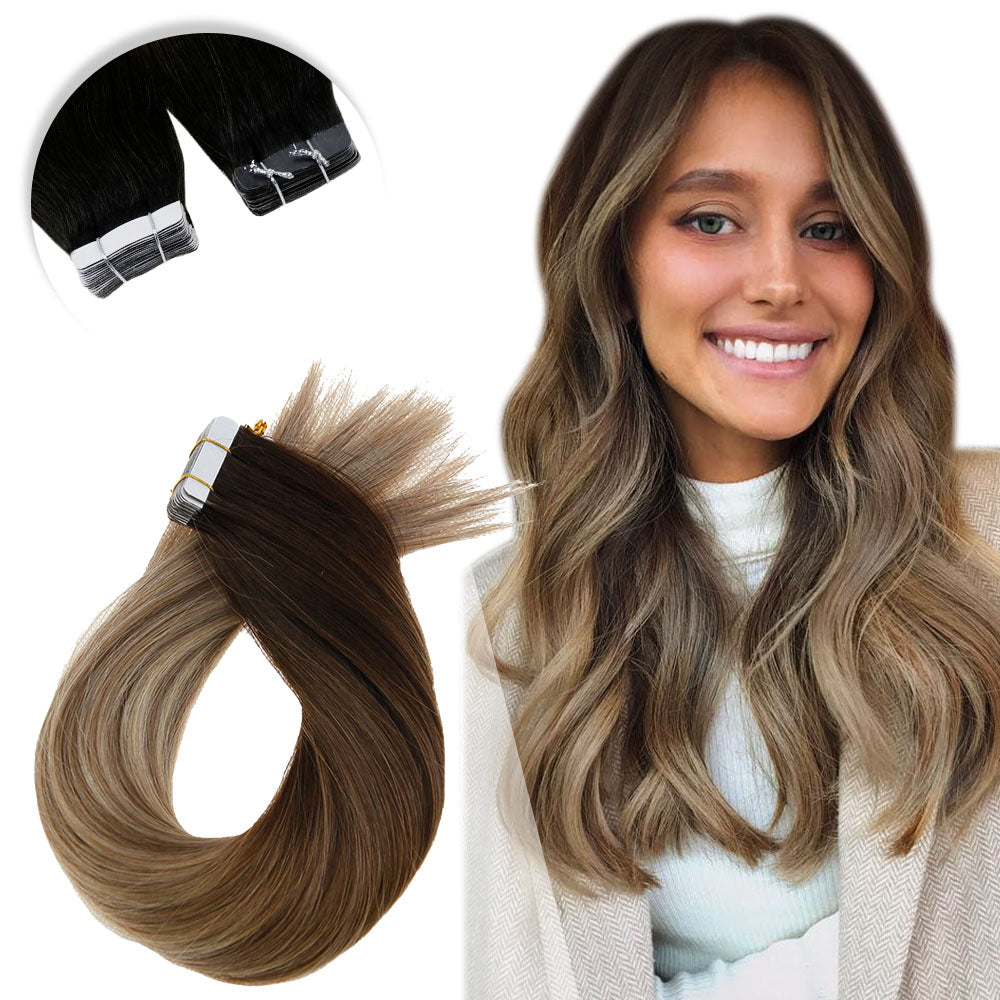Nano Ring/Tip Remy 100% Human Hair Extensions Straight Balayage Color#3/8/22 - LaaVoo