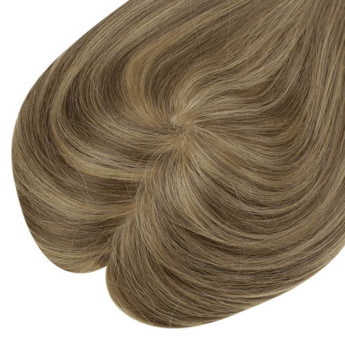 Mono Hair Topper Straight Remy Human Hair Clip in Crown Hair Piece Toupee for Women #P8/16| LaaVoo - LaaVoo