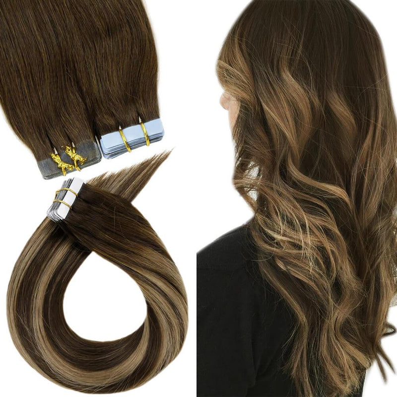 Tape in Human Hair Seamless Double Side Tape Highlight Brown/Blonde Color