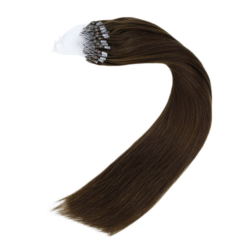 Micro Loops Beads Remy Hair Extensions Human Hair Color Dark Brown #4| LaaVoo - LaaVoo