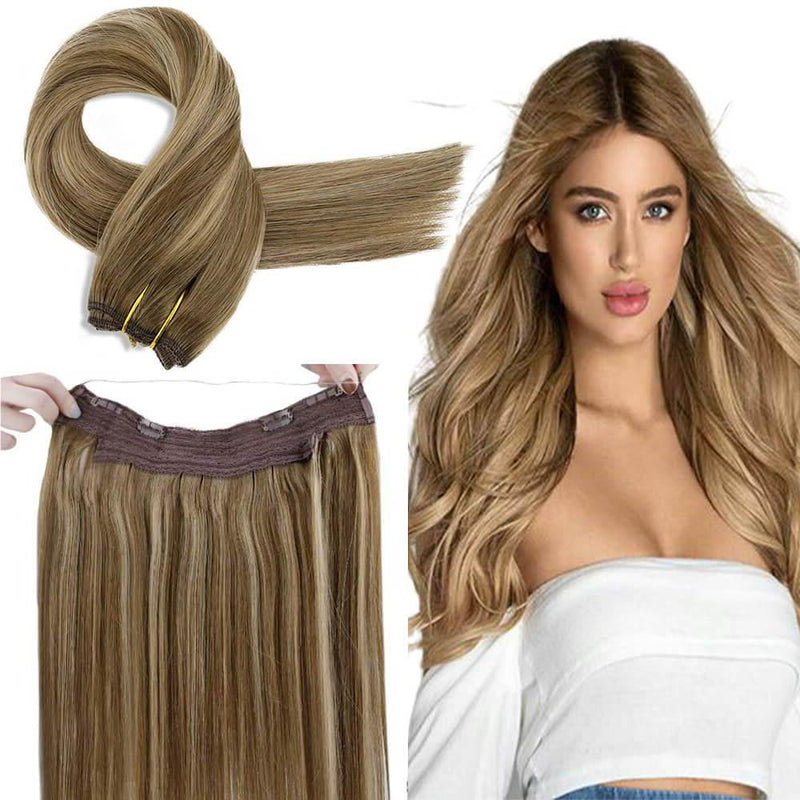 halo hair extension brown balayage hair wire in hair clips in human hair