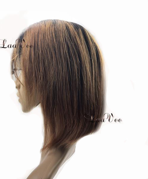 Lace Front Short Bob Wigs Ombre Color #1B Off Black to #30 Auburn Brown 130% Density - LaaVoo
