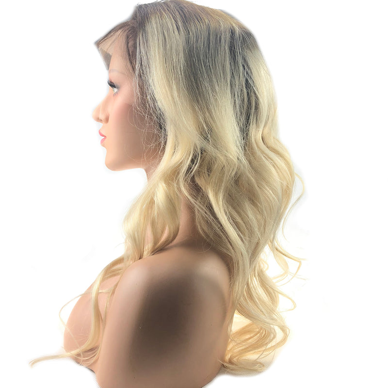 Lace Front Wig Wavy Fashion Long Chocolate Brown Fading to Platinum Blonde Human Wigs for Women 130% Density Free Part Human Hair(#4/60) - LaaVoo