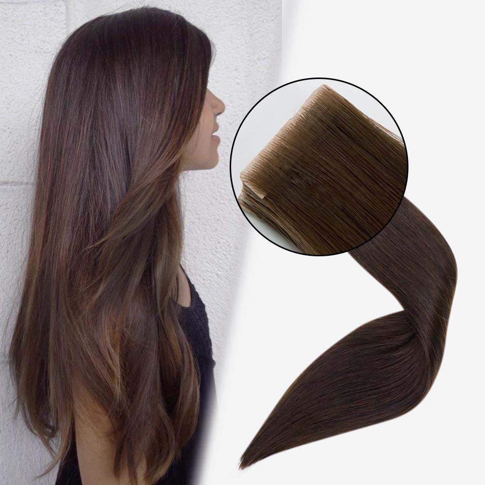 Injection Tape in Hair Extensions 100% Virgin Remy Human Hair Seamless Hair #2 Darkest Brown| LaaVoo - LaaVoo