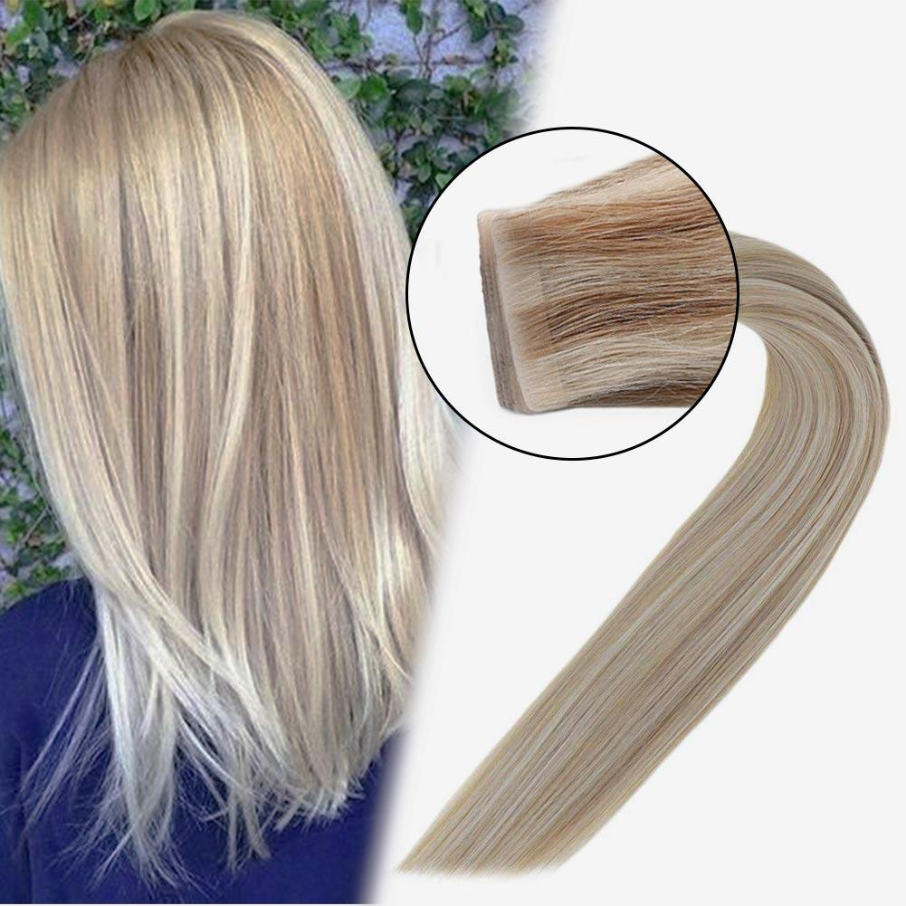 Injection Tape in Hair Extensions 100% Virgin Remy Human Hair Seamless Hair Hightligh Blonde #18/613| LaaVoo - LaaVoo