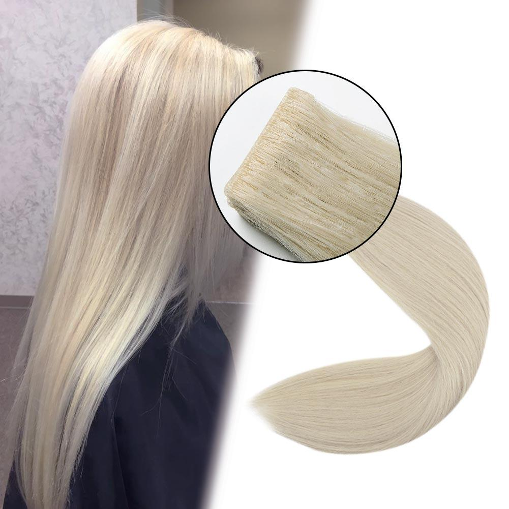 Injection Tape in Hair Extensions 100% Virgin Remy Human Hair Seamless Hair #60 Platinum Blond| LaaVoo - LaaVoo