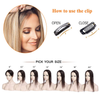 "2"" *6""Invisible Hair Toppers Silk Base Toupee Middle PU Around Natural Black #1 With 2 Clips - LaaVoo"