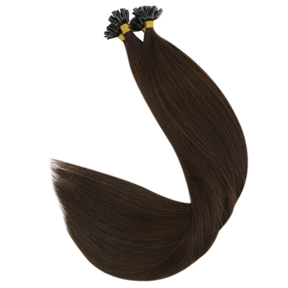 [ Virgin Human] U Tip Pre Bonded Hot Fusion Keratin Remy Human Hair Extensions Dark Brown #2| LaaVoo - LaaVoo
