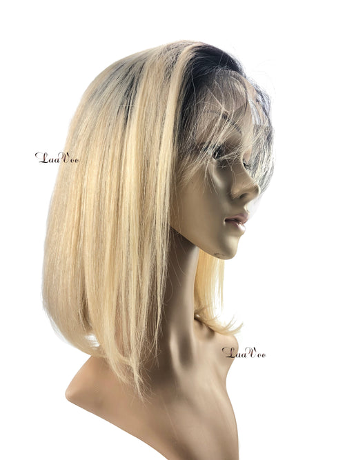 Short Bob Wig Ombre#1b Off Black to Color #60 Blonde Density 130% Free Part Straight with Baby Hair - LaaVoo