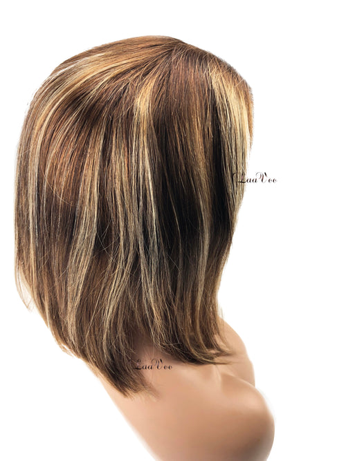 Lace Front Bob Wig Dark Brown Highlighted Caramel Blonde 130% Density Straight Free Part P4/27 - LaaVoo