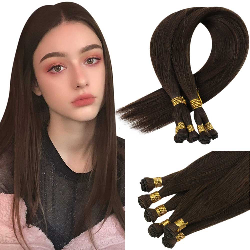Hand tied Full Cuticle hair Hand tied hair weft high quality human hair invisible hair bundles