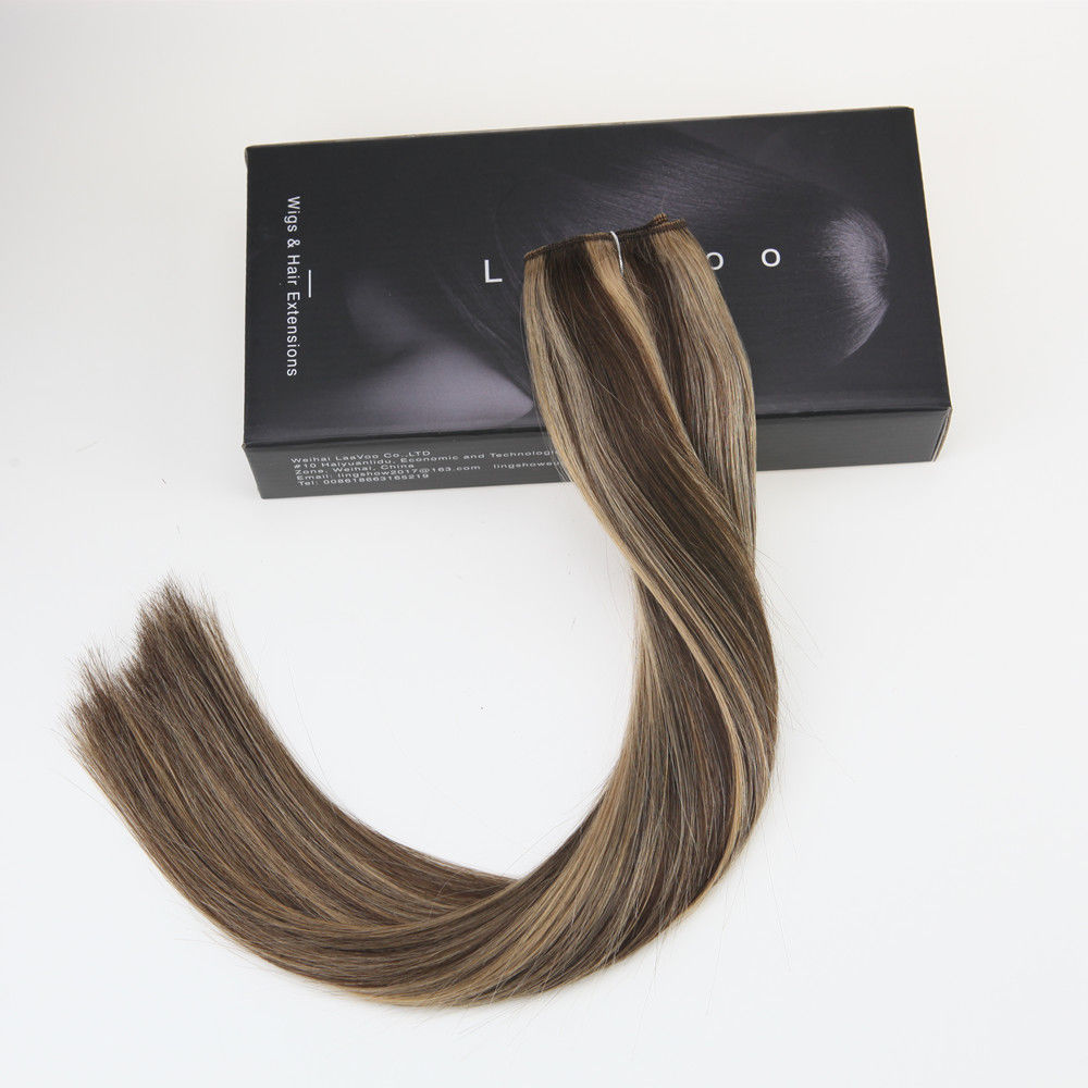 One Piece Clip In Hair Extensions Ombre Dark Brown 4 To Honey Brown