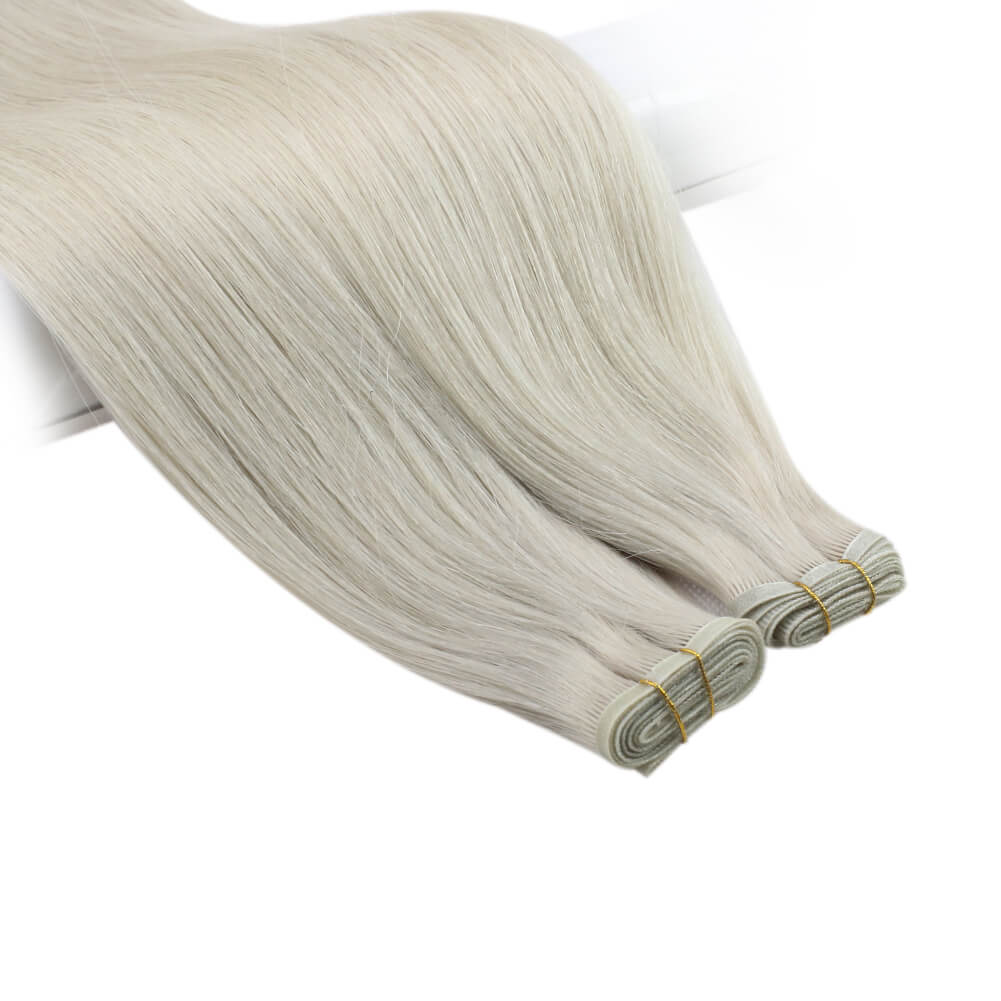 Flat Weft Hair Extensions Sew In Hair Bundles Virgin Hair PU Weft White Platinum Blonde #800| LaaVoo