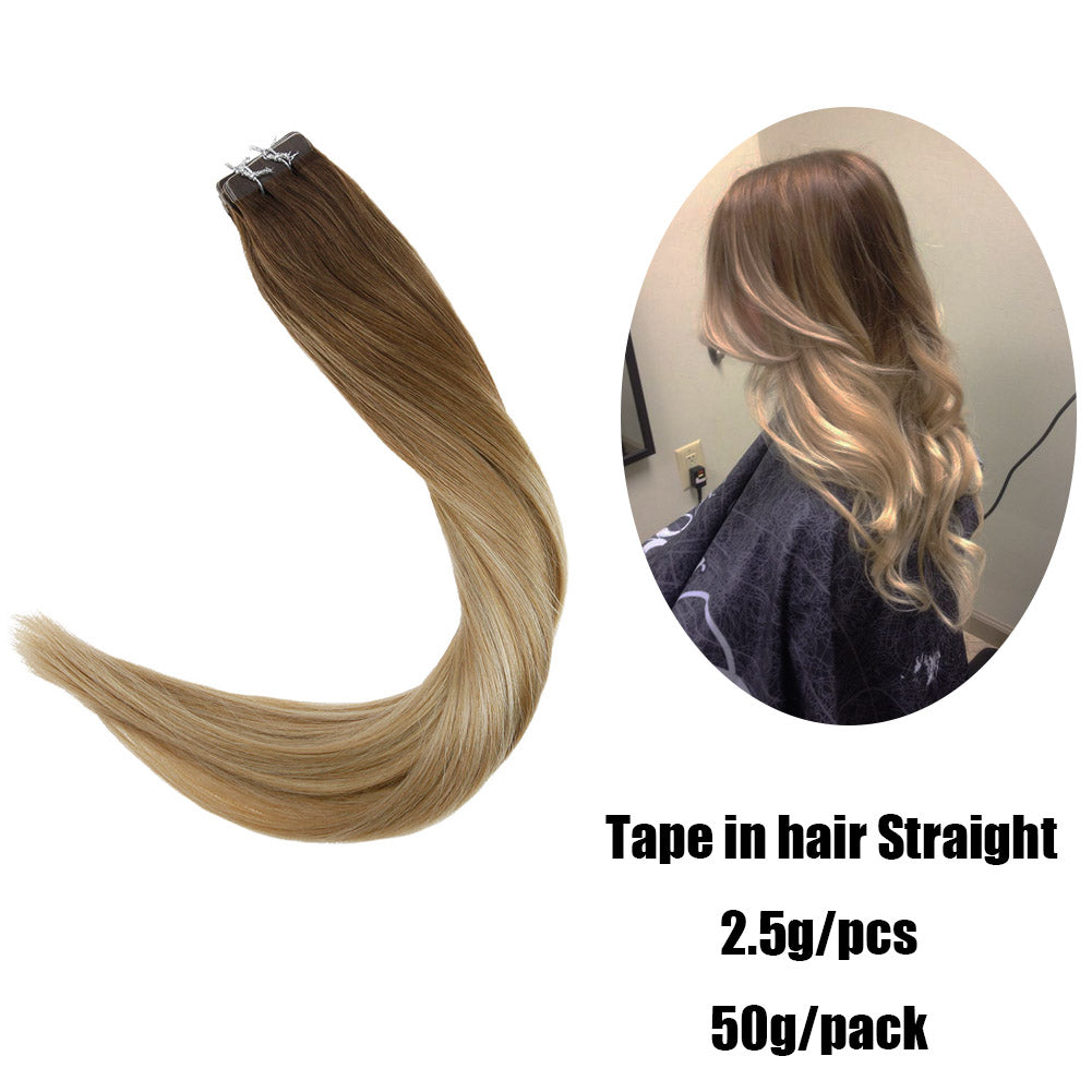 Tape in Human Hair Extension Balayage Highlighted Silky Medium Brown to Ash Blonde with Medium Blonde  #6T18/22 - LaaVoo
