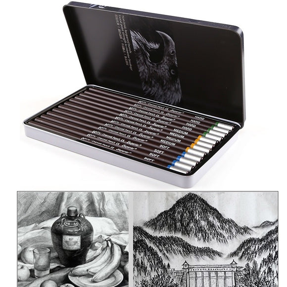 Professional Charcoal Drawing Set of 12 Pencils - Rainbow Cabin