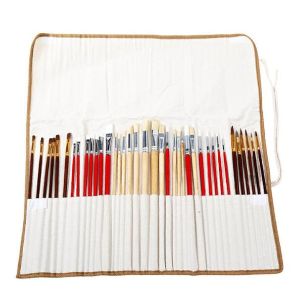 Set of 38 Paint Brushes in Canvas Case