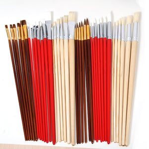 Set of 38 Paint Brushes in Canvas Case - Rainbow Cabin
