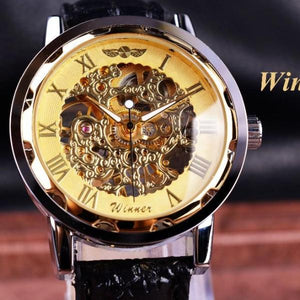 Classic Winner Gold Dial Leather Watch - Rainbow Cabin