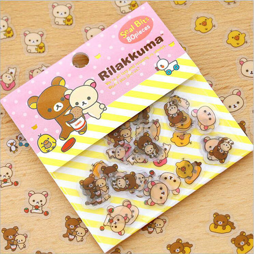Rilakkuma Stickers 80 pieces - Rainbow Cabin