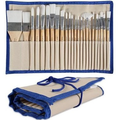 Set of 24 Paint Brushes in Canvas Case