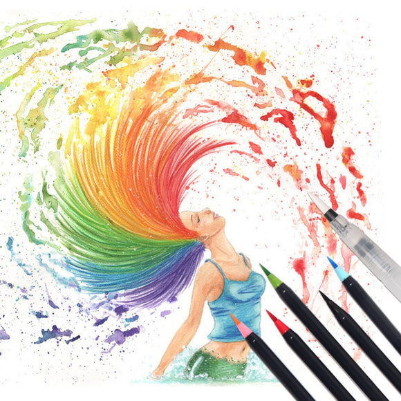 Premium Soft Brush Watercolor Pens 20 Colors - Rainbow Cabin