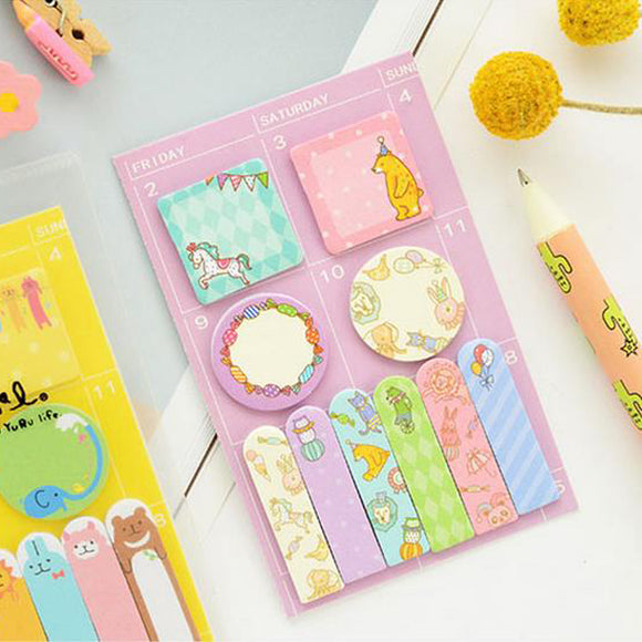 Cute Animal Designs Sticky Memo Set - Rainbow Cabin