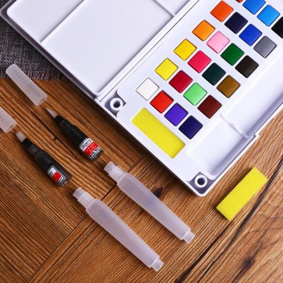 Portable Watercolor Palette Painting Set 18/24/36 Colors - Rainbow Cabin