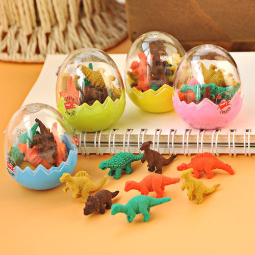 7 Dinosaurs Erasers in Container - Rainbow Cabin