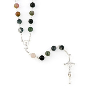Indian Agate Gemstone Rosary Beads - Rainbow Cabin