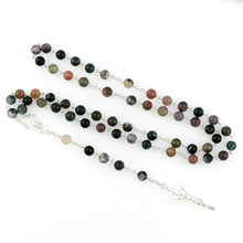 Load image into Gallery viewer, Indian Agate Gemstone Rosary Beads - Rainbow Cabin