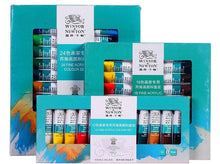 Load image into Gallery viewer, Winsor and Newton Acrylic Art Paint Set 12/18/24 Colors - Rainbow Cabin