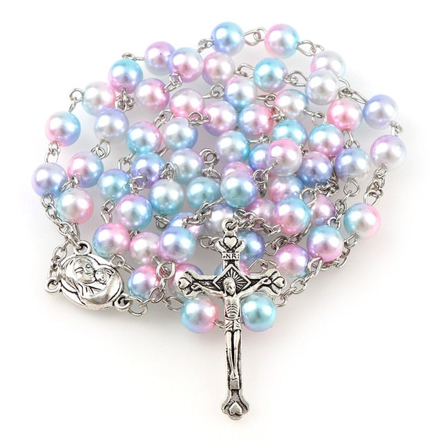 Round Pearls Rosary Beads - Rainbow Cabin