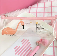 Load image into Gallery viewer, Adorable Flamingo Clear Pencil Case - Rainbow Cabin