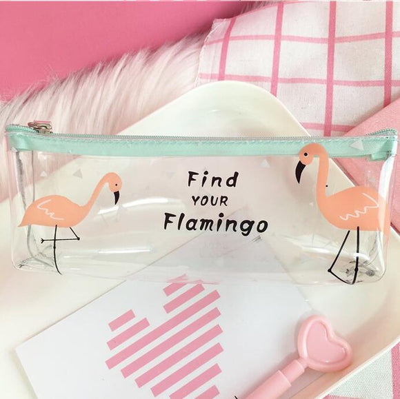 Adorable Flamingo Clear Pencil Case - Rainbow Cabin