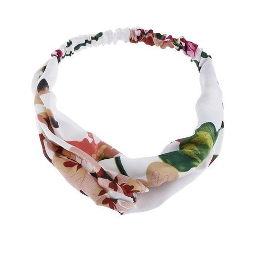 White Floral Twisted Headband - Rainbow Cabin