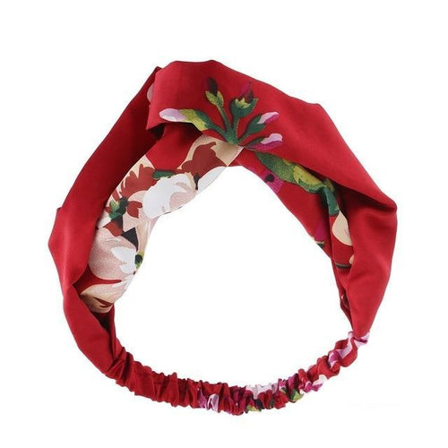 Red Floral Twisted Headband - Rainbow Cabin