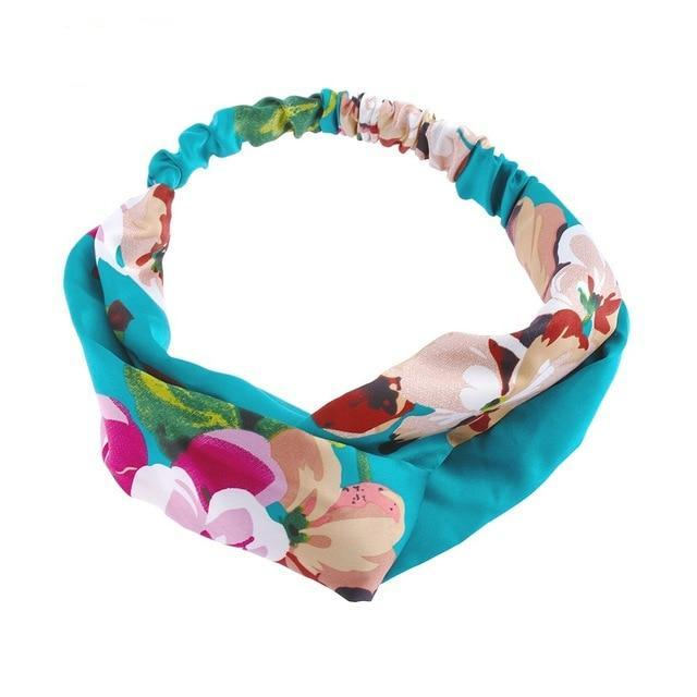 Aqua Floral Twisted Headband - Rainbow Cabin