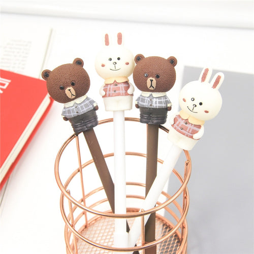 Brown Bear & Cony Rabbit Gel Pen x2 - Rainbow Cabin