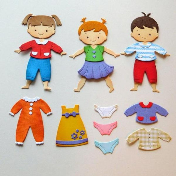 Metal Die Cut Stencil - Boy Meets Girl Paper Clothes