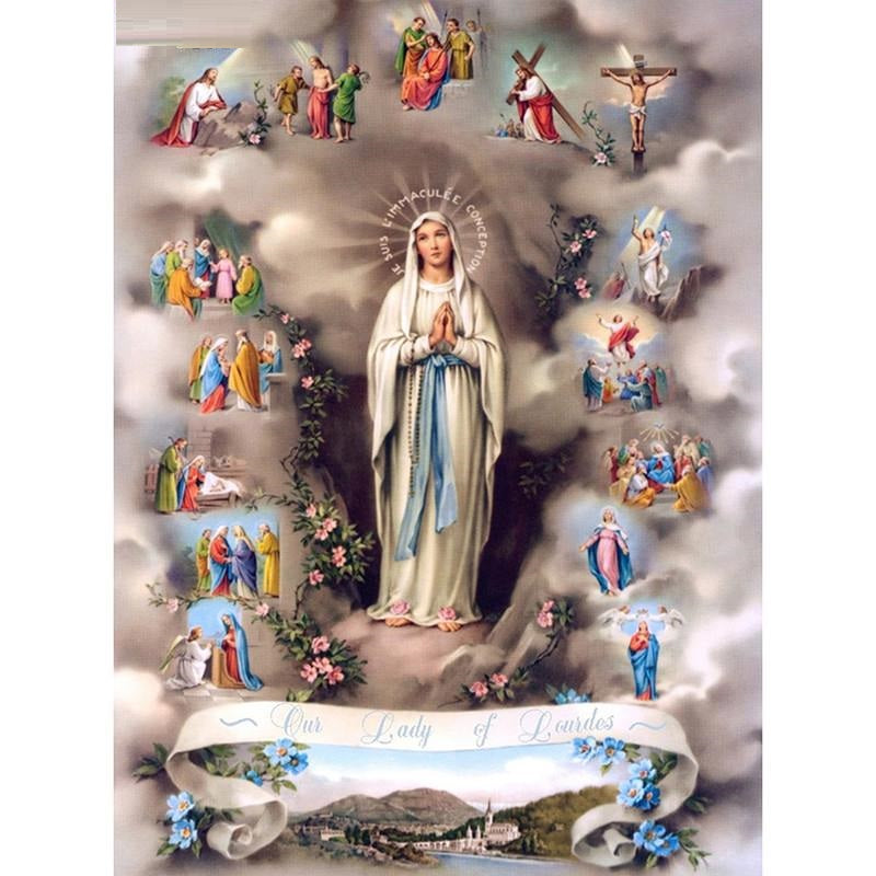 Lady Of Lourdes Diamond Painting Kit - Rainbow Cabin