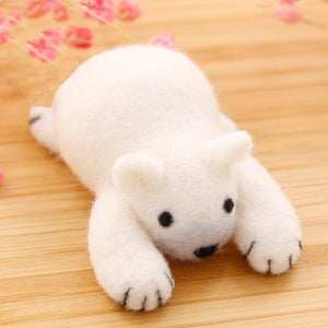 White Polar Bear Felt Craft Kit With Tools - Rainbow Cabin