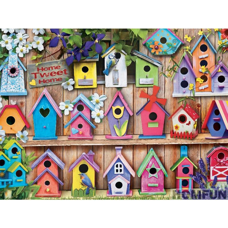 Bird Homes Diamond Painting Kit - Rainbow Cabin