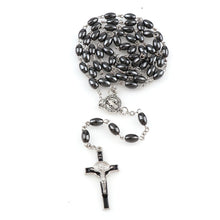 Load image into Gallery viewer, St Benedict Hematite Rosary Beads - Rainbow Cabin