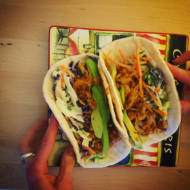 BBQ Jackfruit Tacos with Crunchy Apple Slaw
