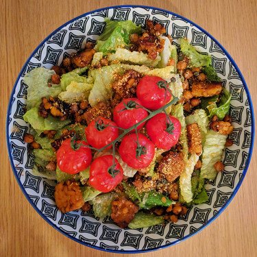 Vegan Caesar Salad with Maple Tempeh and Sesame Parmesan