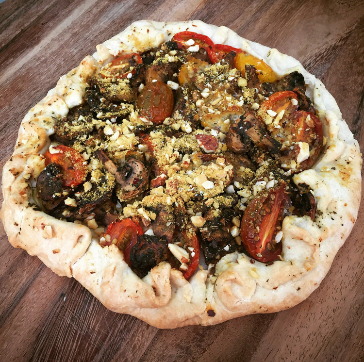 Garlic Mushroom and Cherry Tomato Open Tart